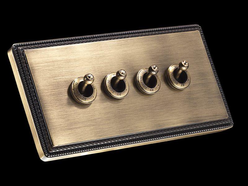 FONT BARCELONA 1950 Collection - rámeček + 4 páčky antická bronz s krystaly Swarovski Light Colorado Topaz