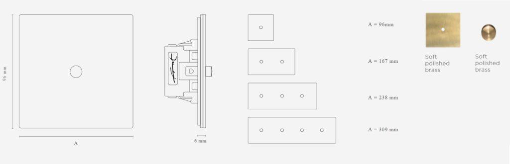 Schéma s rozměry pro zakázkové vypínače FONT BARCELONA