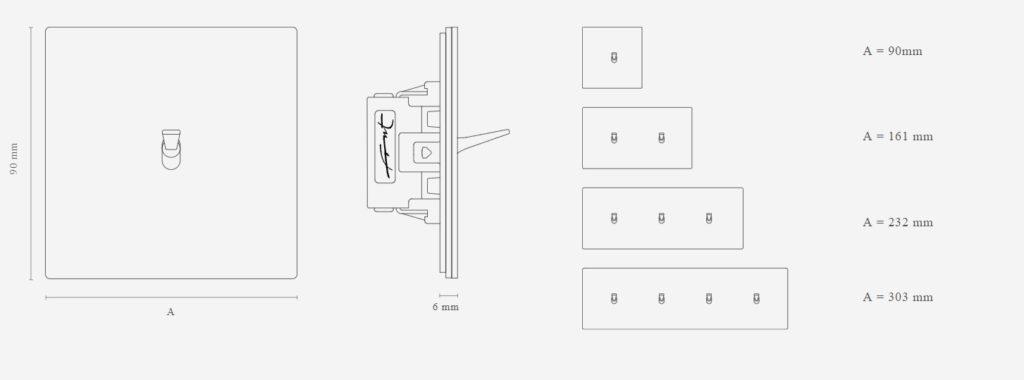 Rozměrové schéma zakázkových vypínačů FONT BARCELONA