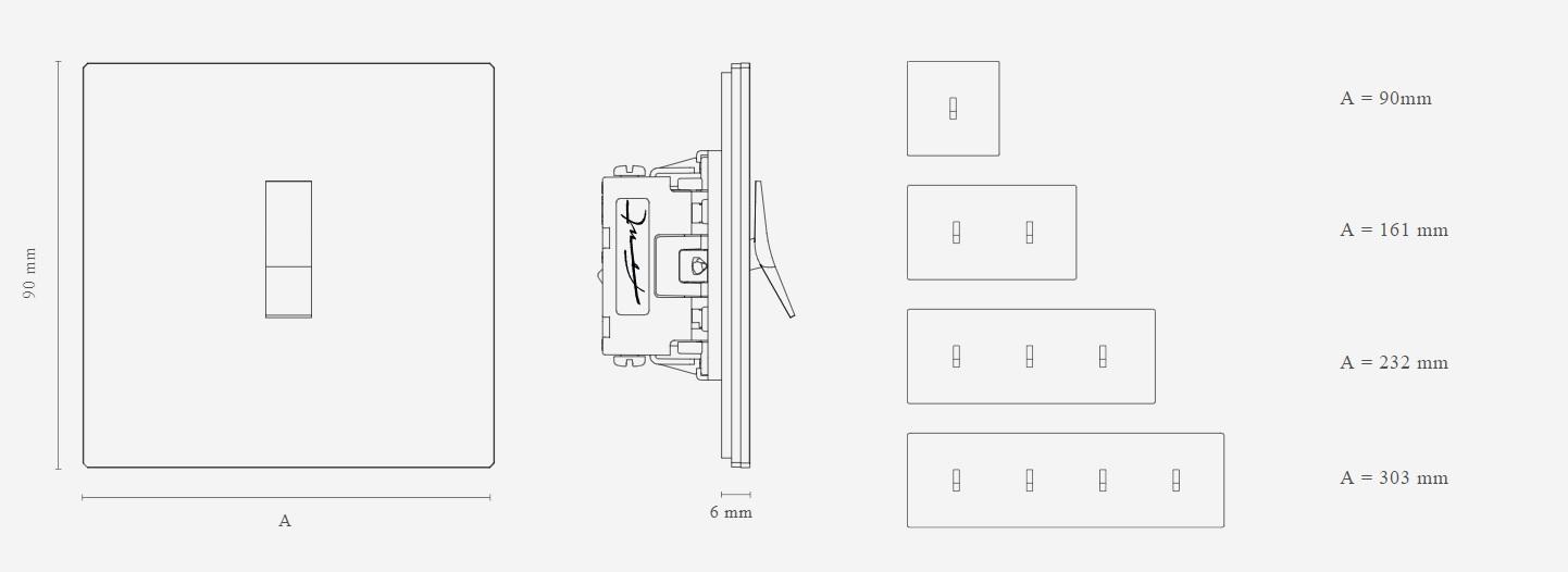 Schéma s rozměry zakázkových vypínačů FONT BARCELONA