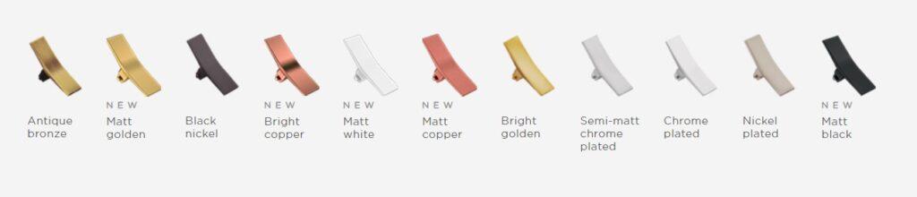Vzorník materiálů pro ovládací kolébky zakázkových vypínačů Font Barcelona